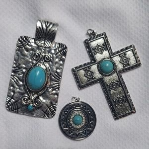 Jewelry - Silver and turquoise charm/pendants
